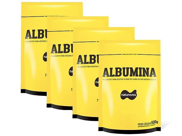 4x Albuminas 500g (Total 2kg) Natural - Naturovos