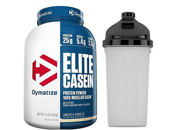 Elite Casein 1,8kg - Dymatize Baunilha + Coqueteleira