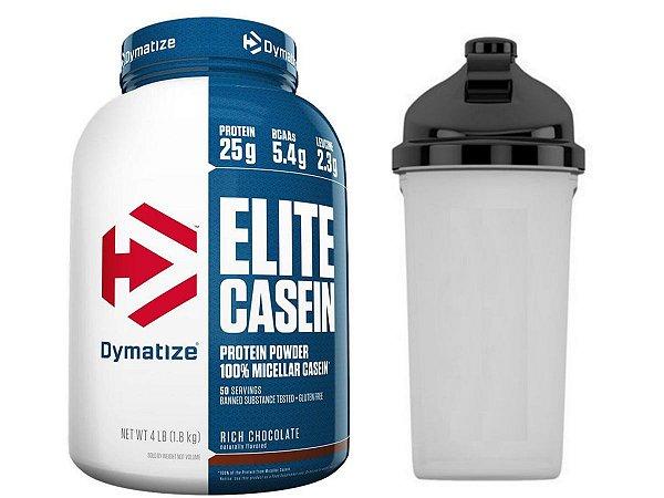 Elite Casein 1,8kg - Dymatize Chocolate + Coqueteleira