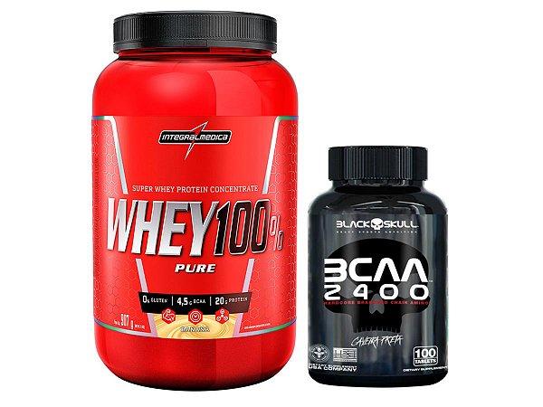 100% Whey 907g Chocolate Integral Medica + Bcaa 2400 Black Skull 100 Tabletes