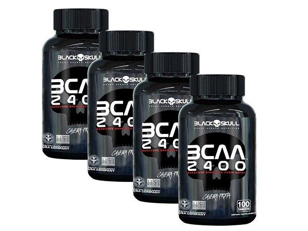 Combo 4x Bcaa 2400 100 Tabs - Black Skull Caveira Preta