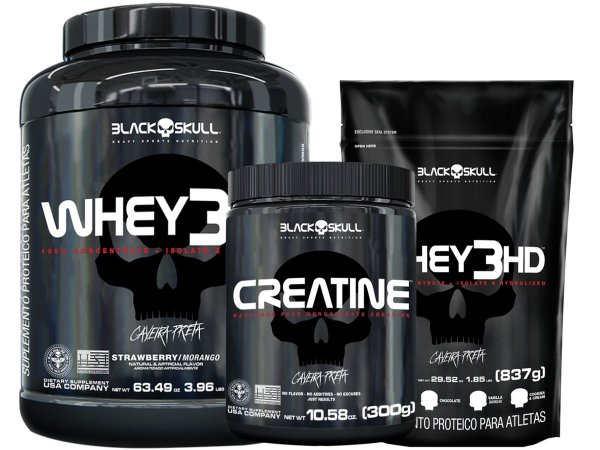 whey 3hd 1,8kg Cookies & Cream + whey 3hd 837g Cookies & Cream + creatina 300g - Black Skull