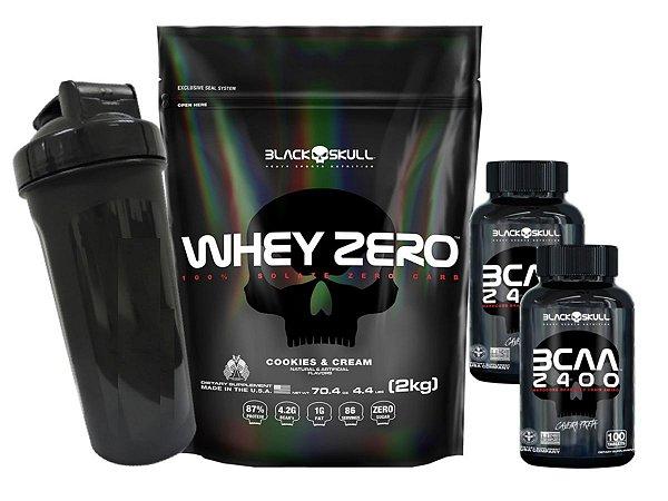Whey Zero Refil 2kg Morango + 2x Bcaa 2400 de 100 Tabletes + Coqueteleira