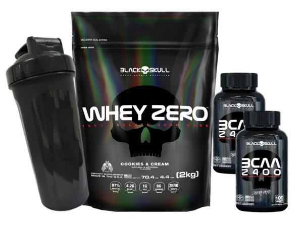 Whey Zero Refil 2kg Chocolate + 2x Bcaa 2400 de 100 Tabletes + Coqueteleira
