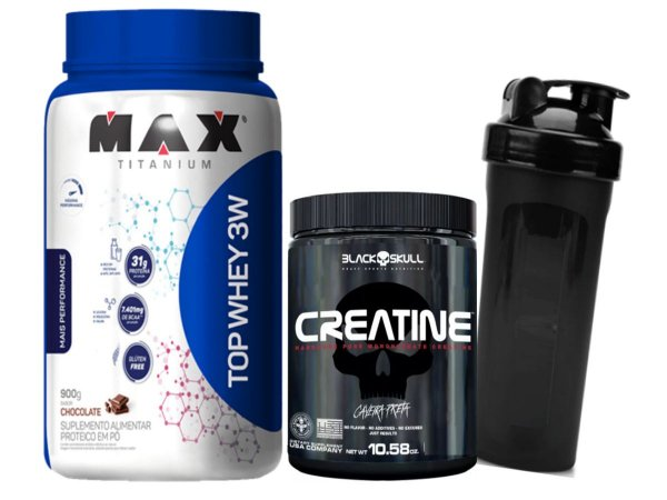Top Whey 900g Chocolate Max Titanium + Creatina 150g Black Skull + Coqueteleira