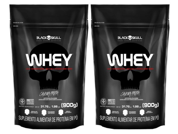 2x Whey Refil 900g - Black Skull Chocolate