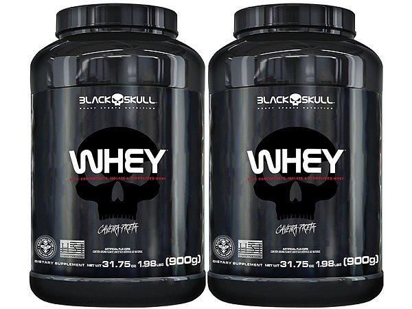 2x Whey Pote 900g - Black Skull Chocolate
