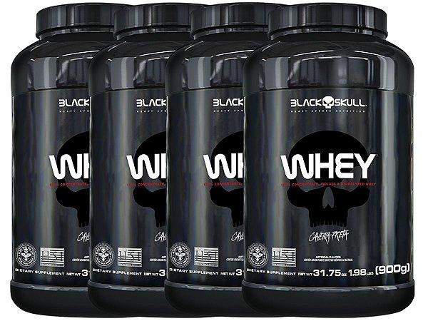 4x Whey Pote 900g - Black Skull Chocolate