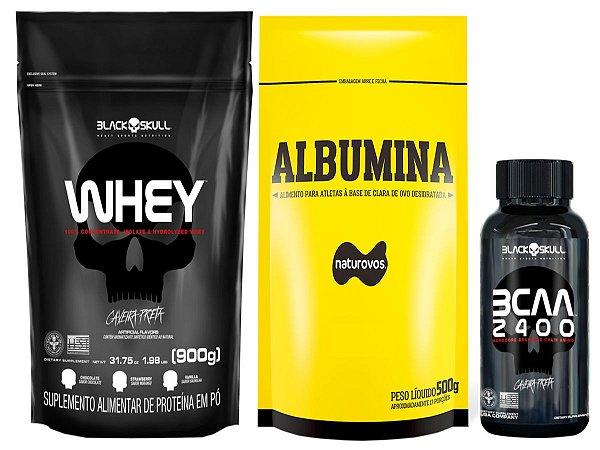 Whey Refil 900g Black Skull + Albumina 500g Naturovs (Chocolate) + Bcaa 30 tabletes