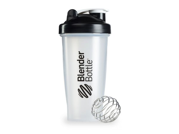 Coqueteleira Blender Bottle 600ml - Cor Transparente Preto