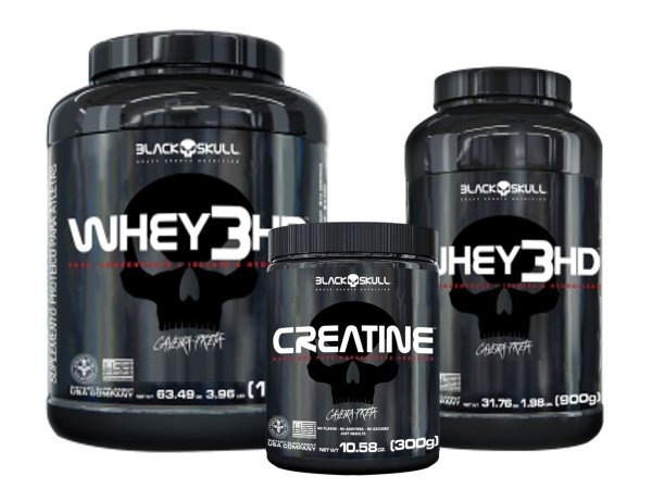 whey 3hd 1,8kg Mornago + whey 3hd 900g Morango + creatina 300g - Black Skull