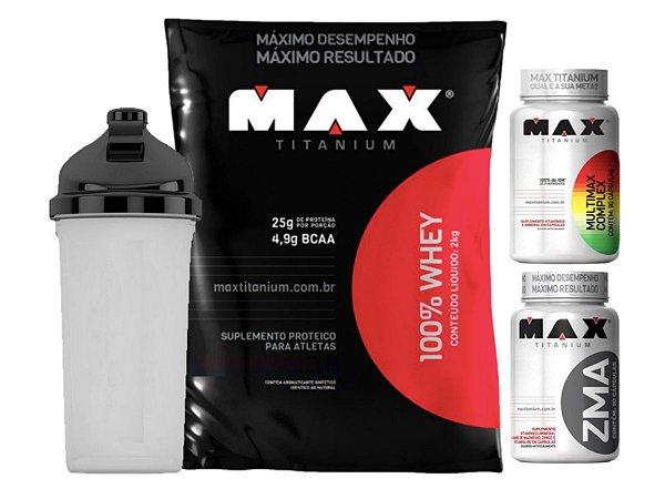 100% Whey Refil 2kg Morango Max Titanium + Zma 90 Cáps + Multimax 90 Cáps + Shaker