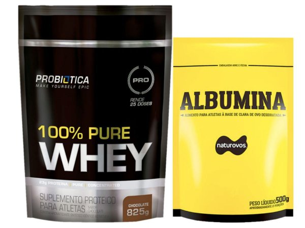 100% Whey 825g Probiotica + Albumina 500g Naturovos Baunilha