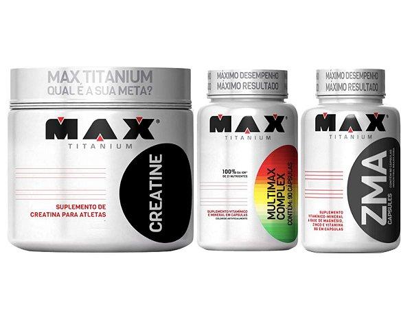 Creatina 300g Max Titanium + Zma 90 cáps Max + Multimax 90 cáps