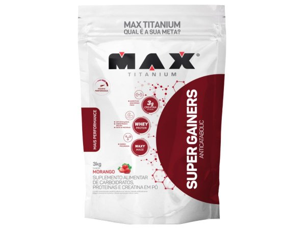 Hipercalorico Super Gainers 3kg Max Titanium Morango