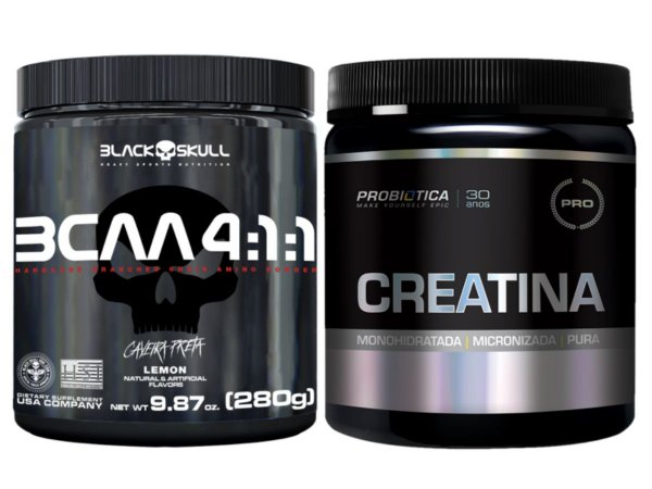 Bcaa 4.1.1 280g - Black Skull Açaí com Guaraná + Creatina 300g Probiótica