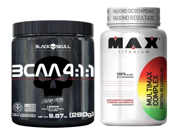Bcaa 4.1.1 280g - Black Skull Limão + Multimax 90 cáps Max