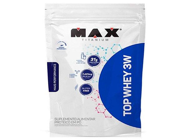Top Whey 3w Refil Morango 1,8kg  Max Titanium