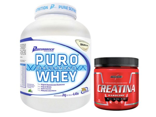 Puro Whey 2kg Cookies & Cream Performance Nutrition + Creatina 300g Integralmédica