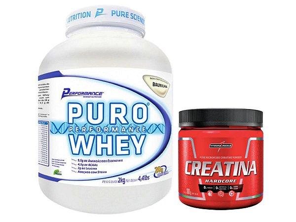 Puro Whey 2kg Caramelo Performance Nutrition + Creatina 300g Integralmédica