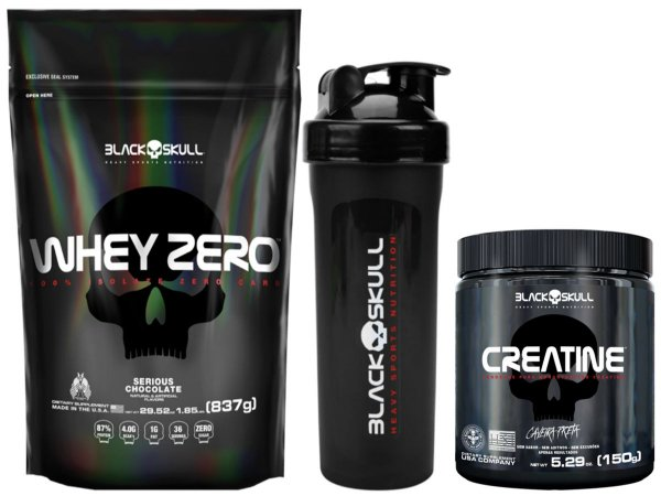 Whey Zero Refil 837g Cookies & Cream + Creatina 150g Black Skull + Shaker