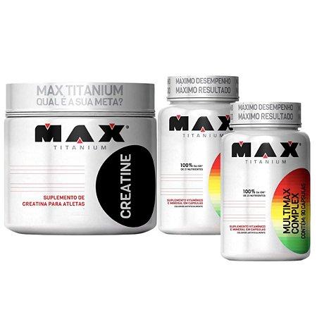 Creatina 300g Max Titanium + 2X Multimax 90 cáps Max Titanium