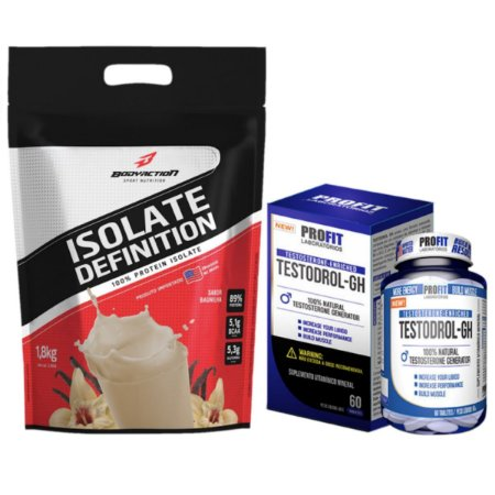 Isolate Definition 1,8kg  Bodyaction Merengue de Morango + Testodrol GH 60 tabs - Profit