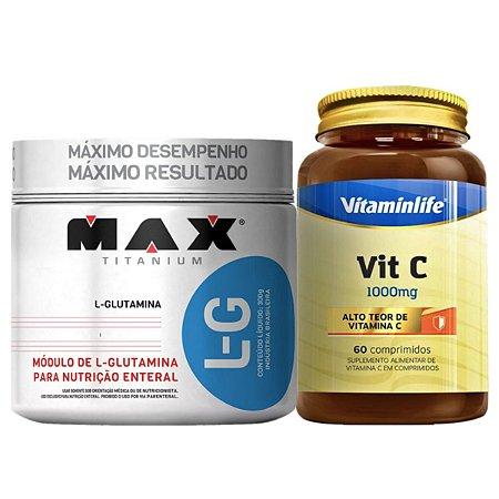 Kit Imunidade Glutamina 300g Max + Vitamina C 1g 60 Cáps