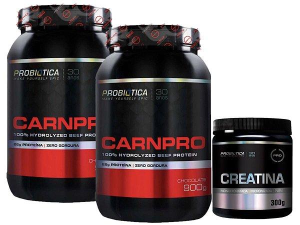 2X Carnpro Beef Protein 900g Probiotica Chocolate + Creatina 300g Probiotica
