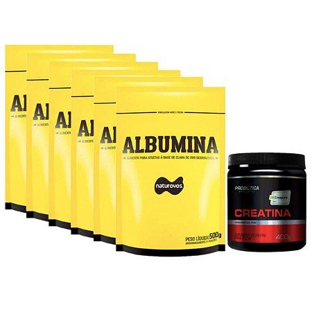 6X Albumina 500g Morango Naturovos + Creatina Creapure 400g Probiótica