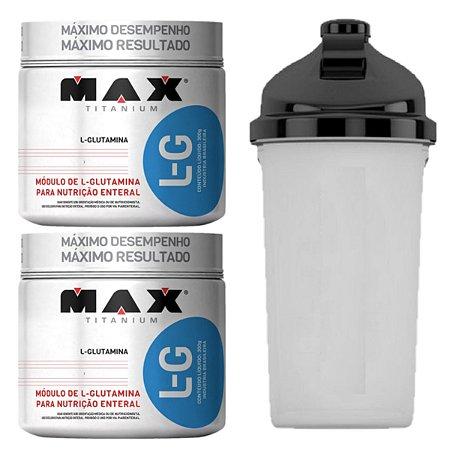 2X Glutamina 300g Max Titanium + Coqueteleira