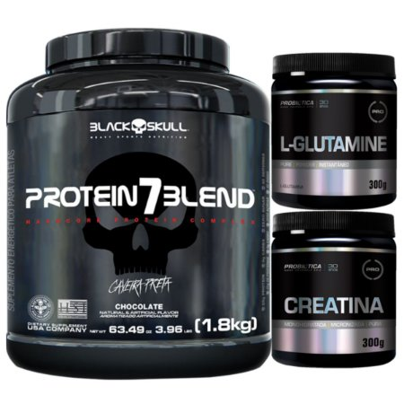 Protein 7 Blend 1,8kg - Black Skull Caramelo + Glutamina 300g + Creatina 300g Probiótica