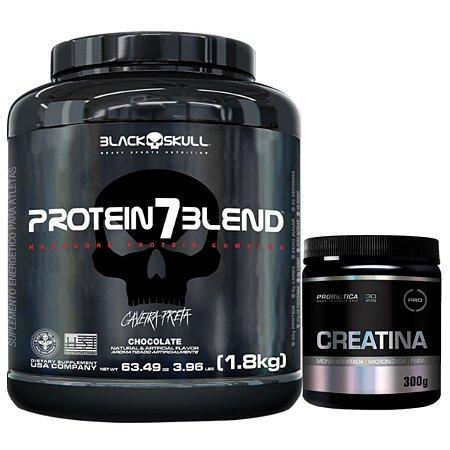 Protein 7 Blend 1,8kg - Black Skull Morango + Creatina 300g Probiótica