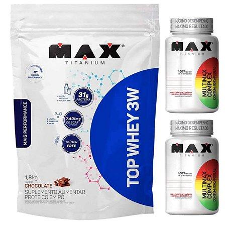Top Whey 3w 1,8kg Max Titanium Chocolate + 2X Multimax 90 Cáps Max
