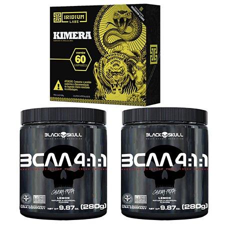 2X Bcaa 4.1.1 280g - Black Skull Limão + Kimera  60 cáps Iridium