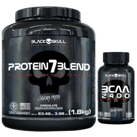 Protein 7 Blend 1,8kg - Black Skull Amendoim + Bcaa 2400 100 Tabs - Black Skull