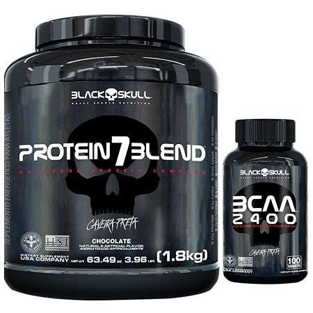 Protein 7 Blend 1,8kg - Black Skull Chocolate + Bcaa 2400 100 Tabs - Black Skull