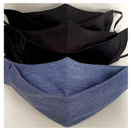 Kit 3X Máscara Modelo 3d 100% Algodão Tam P ( 2X Preto + 1X Jeans)