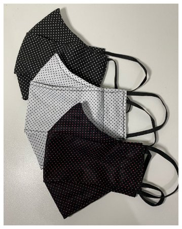 Kit 3X Máscara Modelo 3d 100% Algodão Tam P ( Poá Preto Branco, Preto Vermelho, Branco Preto)