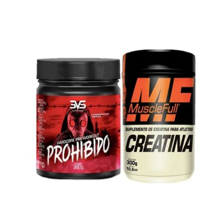 Prohibido 3vs 360gr Pré Treino Sabor Strawberry Margarita + Creatina 300g Muscle Full