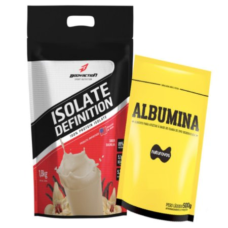 Whey Isolate Definition (1.8kg) Body Action - Baunilha + Albumina 500g Naturovos Baunilha