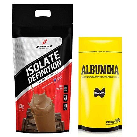 Whey Isolate Definition (1.8kg) Body Action - Chocolate + Albumina 500g Naturovos Chocolate