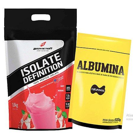 Whey Isolate Definition (1.8kg) Body Action - Morango + Albumina 500g Naturovos Morango