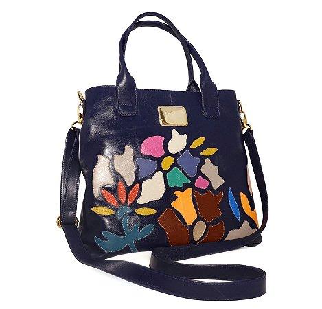 Bolsa Grande Flores Blue