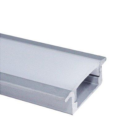 Perfil de Embutir Slim Para Fita LED Com Difusor em Acrílico Leitoso 2 Metros - LUM21