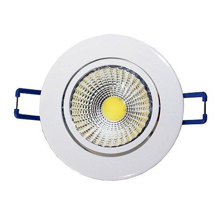 Spot de Embutir Redondo Branco COB LED 7W Bivolt