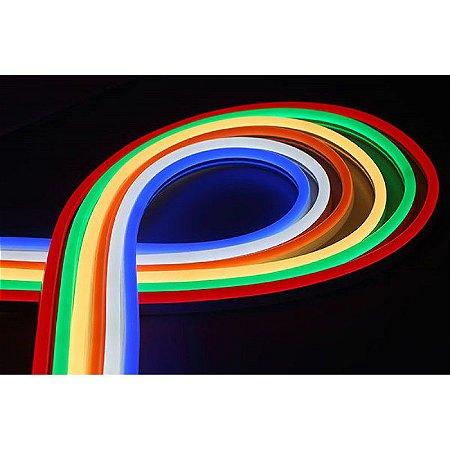 Fita de LED Neon RGB 8W/M 127V IP65 50 metros SMD 5050 Plug and Play