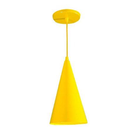 Pendente de Teto Decorativo Cor Amarelo Bocal E-27 Chapéu