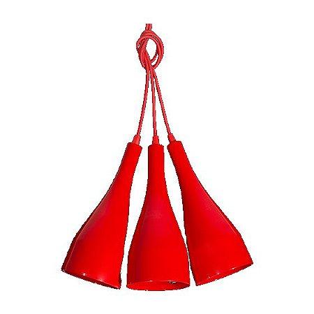 Pendente de Teto Decorativo Triplo Cor Vermelho Bocal E-27