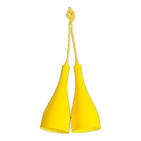 Pendente de Teto Decorativo Duplo Cor Amarelo Bocal E-27